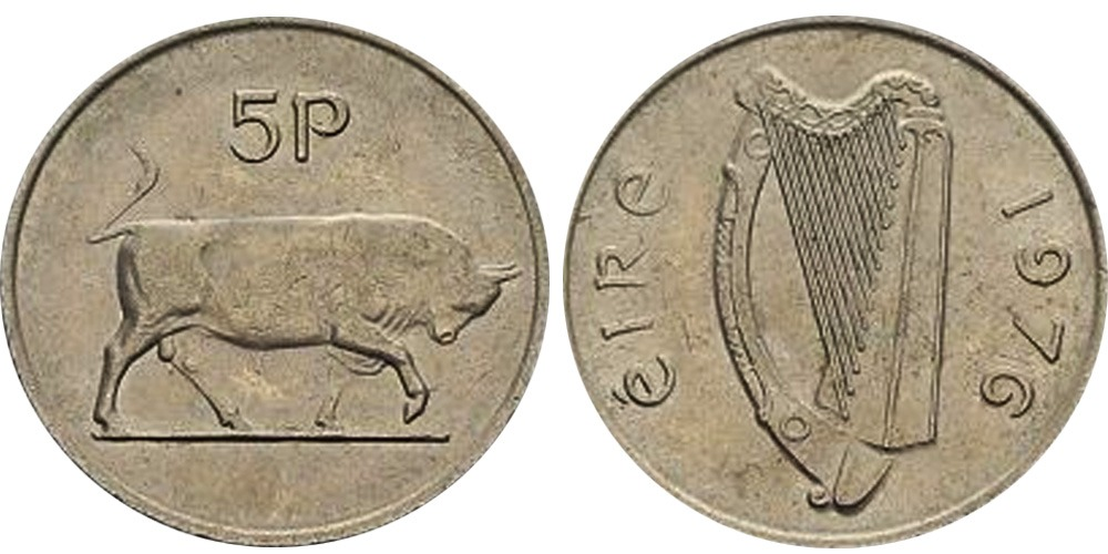 5 пенсов 1976 Ирландия — Бык