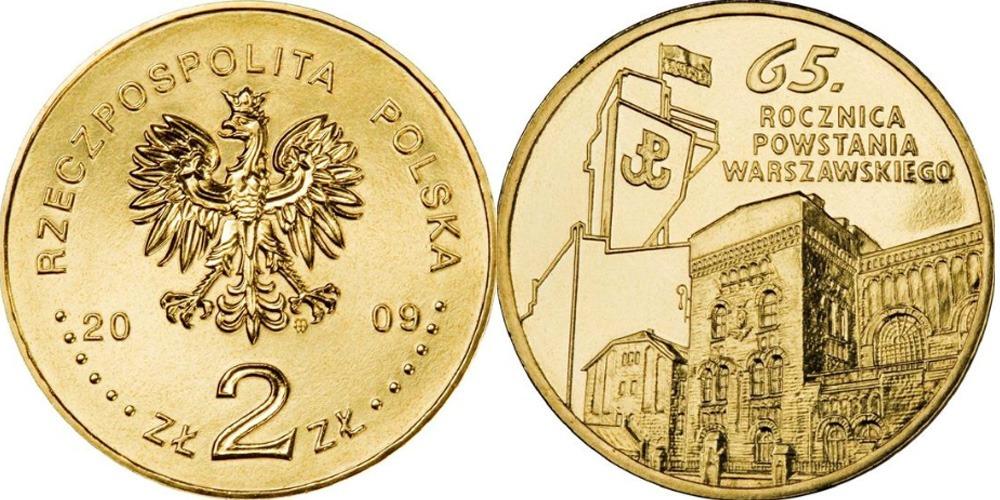 2 злотых 2009 Польша — 65 лет Варшавскому восстанию