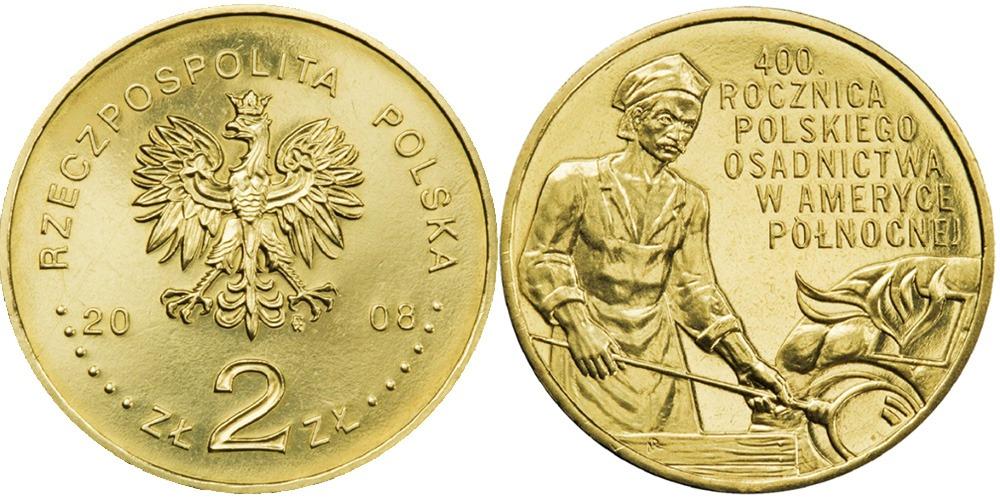 2 злотых 2008 Польша — 400 лет польским поселениям в Северной Америке