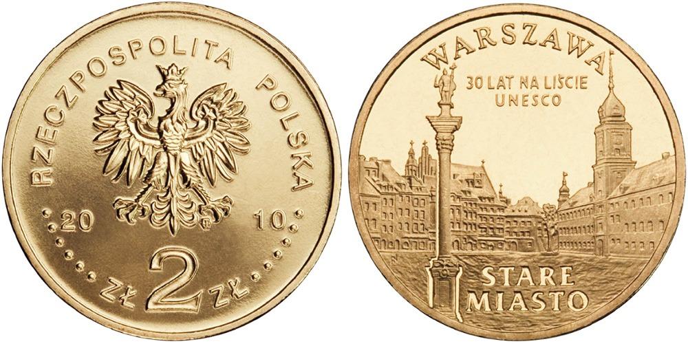 2 злотых 2010 Польша — Города Польши — Варшава, Старый город