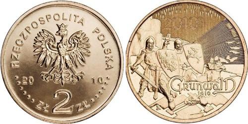 2 злотых 2010 Польша — Великие сражения — Грюнвальдская битва