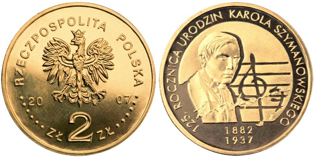 2 злотых 2007 Польша — 125 лет со дня рождения Кароля Шимановского