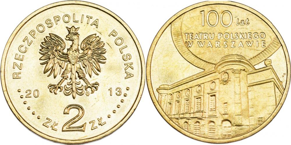 2 злотых 2013 Польша — 100 лет Польскому театру в Варшаве