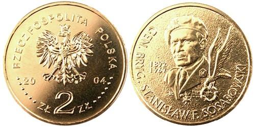 2 злотых 2004 Польша — Генерал Станислав Сосабовски (1892-1967)