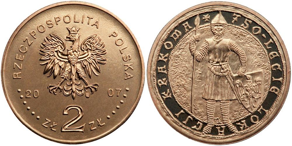 2 злотых 2007 Польша — 750 лет городу Краков