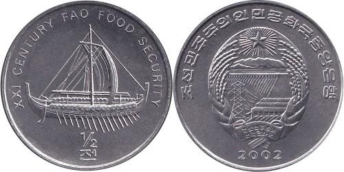 1/2 чона 2002 Северная Корея — ФАО — галера (судно с веслами)