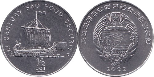 1/2 чона 2002 Северная Корея — ФАО — корабль викингов