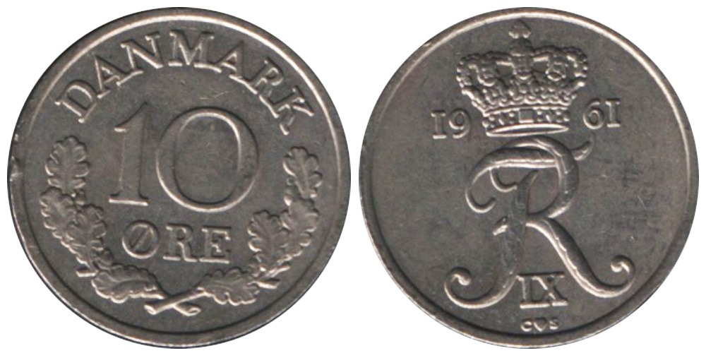 10 эре 1961 Дания
