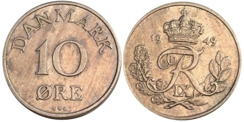 10 эре 1949 Дания