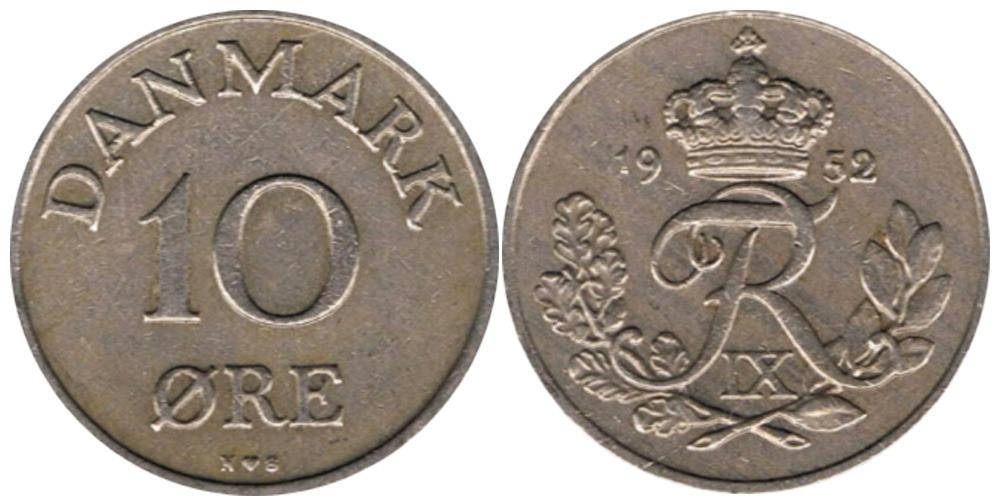10 эре 1952 Дания