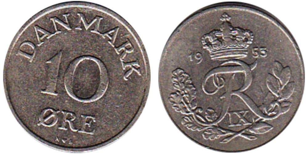 10 эре 1953 Дания
