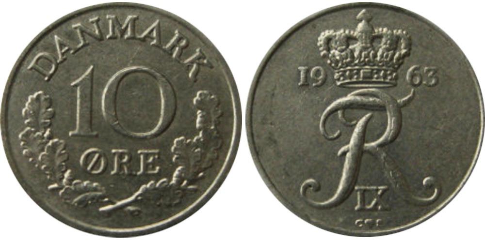 10 эре 1963 Дания
