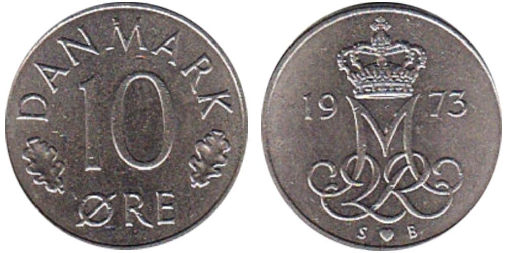 10 эре 1973 Дания
