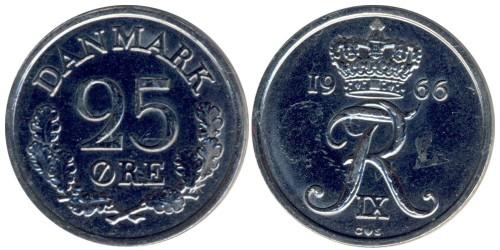 25 эре 1966 Дания — без отверстия