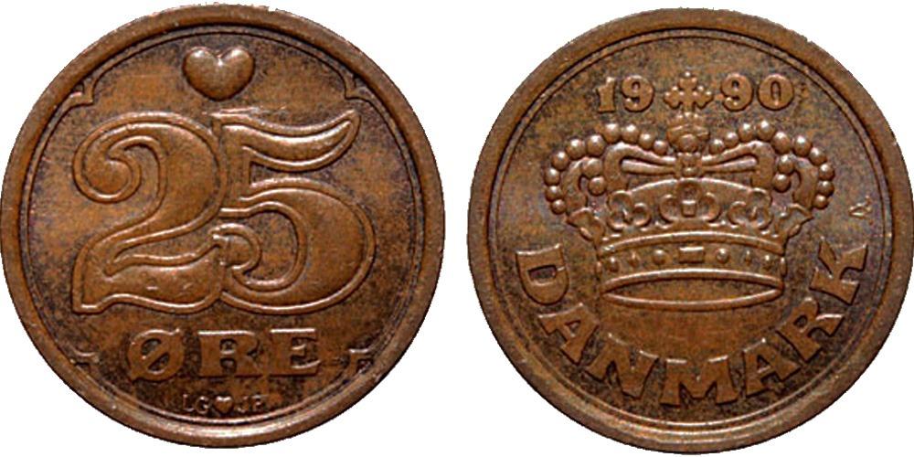 25 эре 1990 Дания