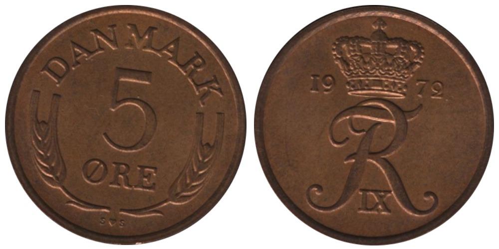 5 эре 1972 Дания