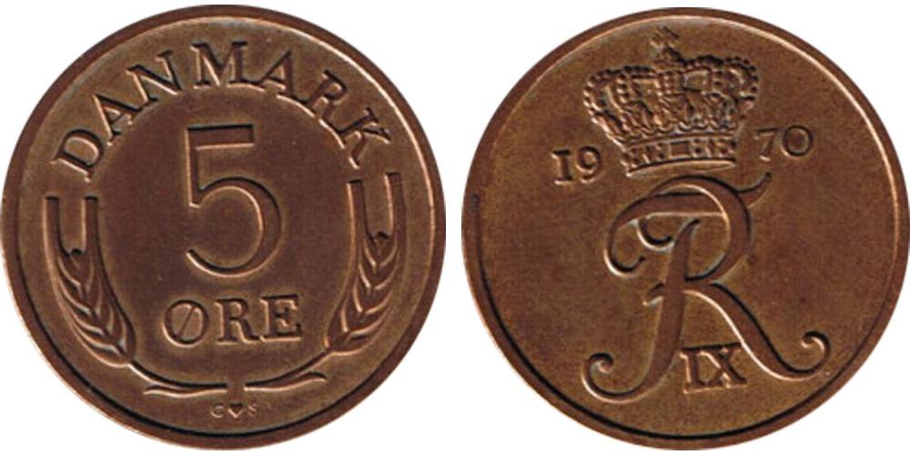 5 эре 1970 Дания