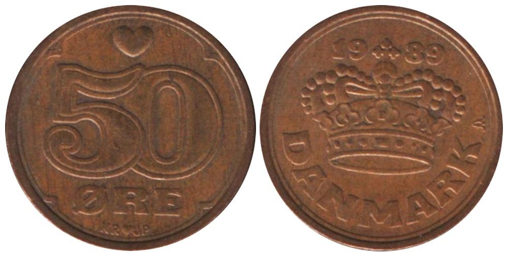 50 эре 1989 Дания