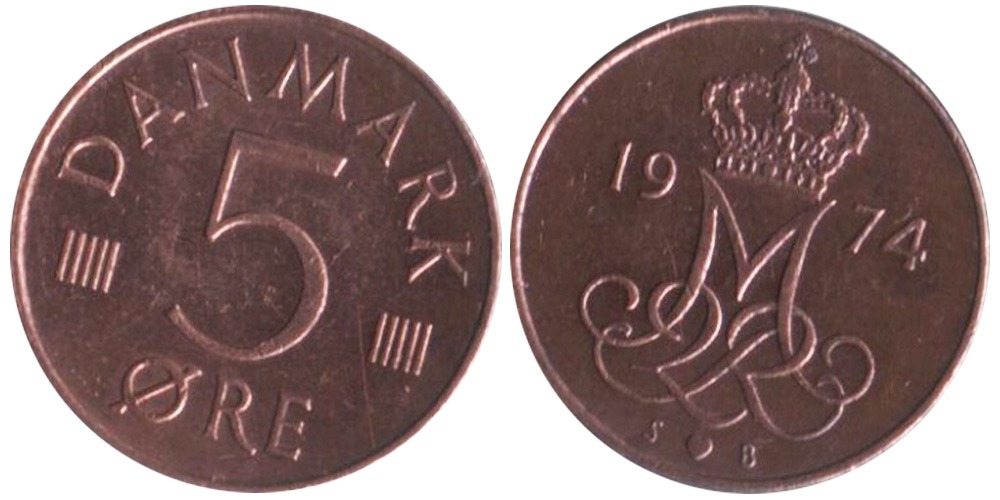 5 эре 1974 Дания