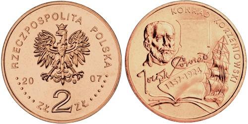 2 злотых 2007 Польша — 150 лет со дня рождения Конрада Коженёвского