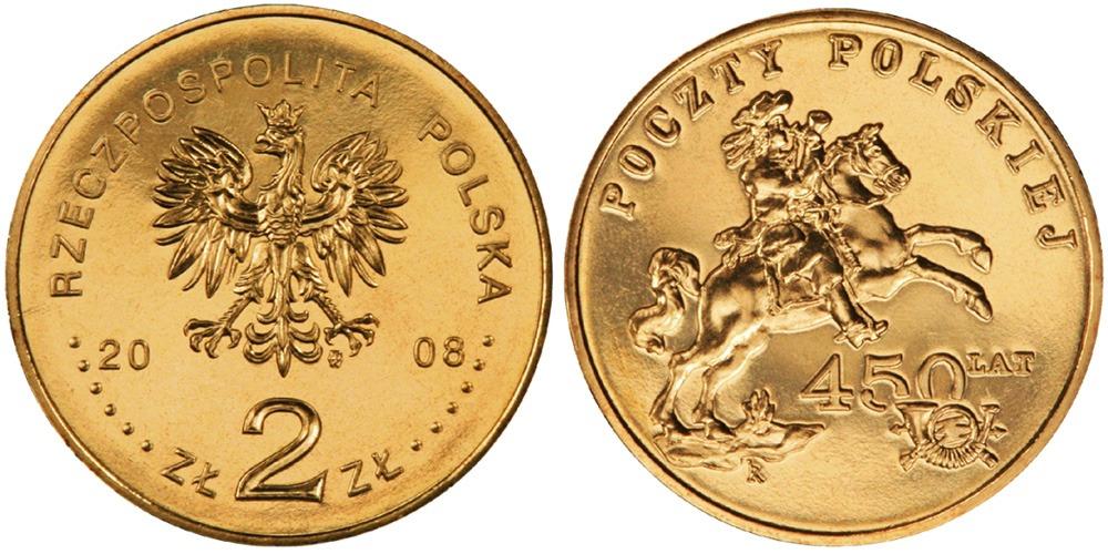 2 злотых 2008 Польша — 450 лет польской почтовой службе