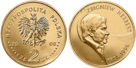 2 злотых 2008 Польша — 10 лет со дня смерти Збигнева Херберта