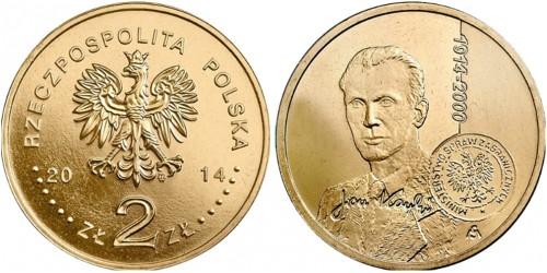 2 злотых 2014 Польша — 100 лет со дня рождения Яна Карского