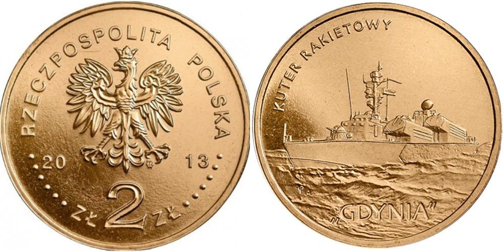 2 злотых 2013 Польша — Польские суда — Ракетный катер «Гдыня»