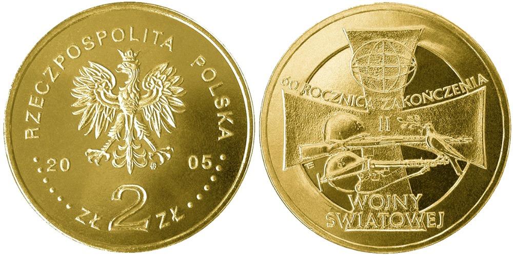 2 злотых 2005 Польша — 60 лет окончанию Второй мировой войны