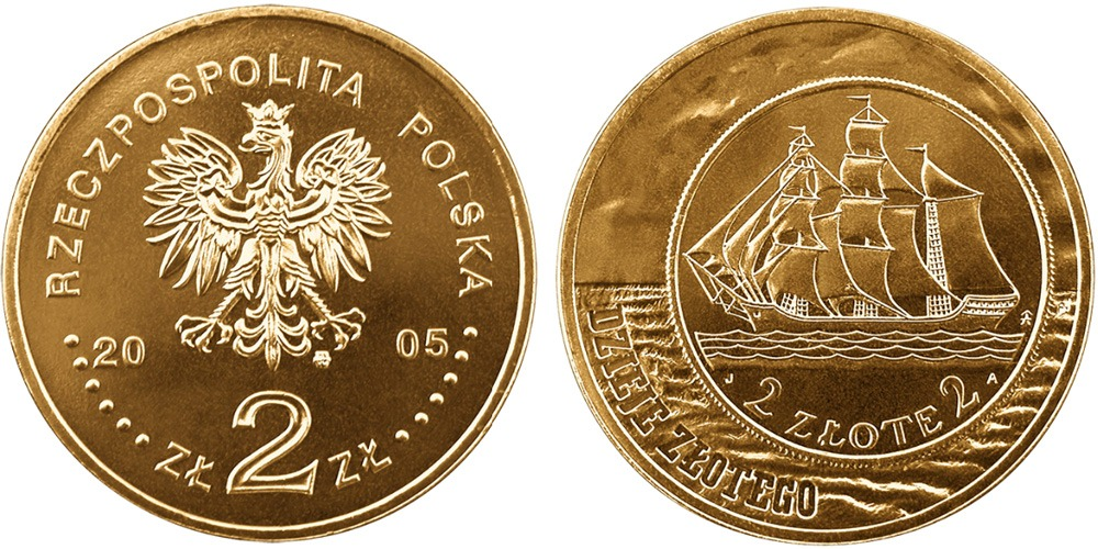 2 злотых 2005 Польша — История польского злотого — парусное судно на 2 и 5 злотых 1936 года