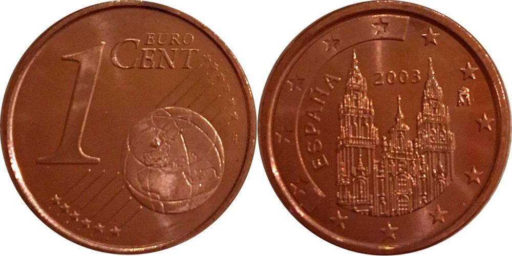 1 евроцент 2003 Испания UNC