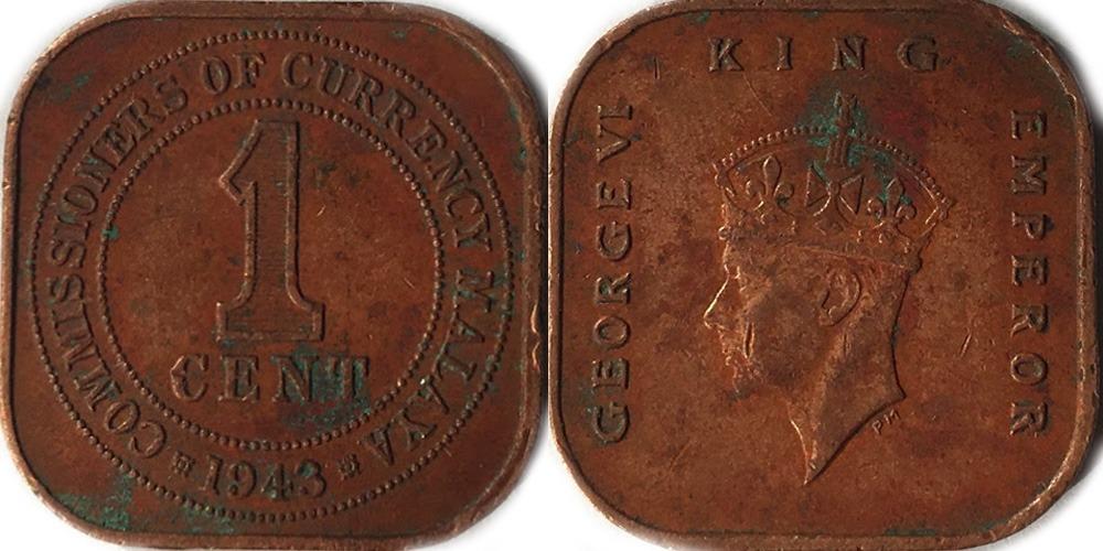 1 центов 1943 Британская Малайя