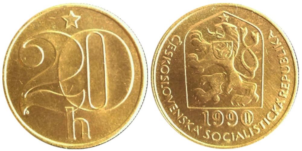 20 геллеров 1990 Чехословакии