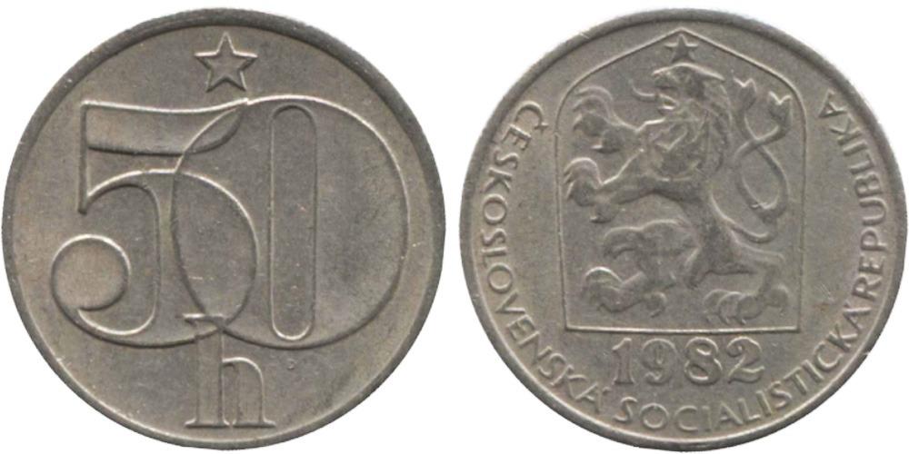 50 геллеров 1982 Чехословакии