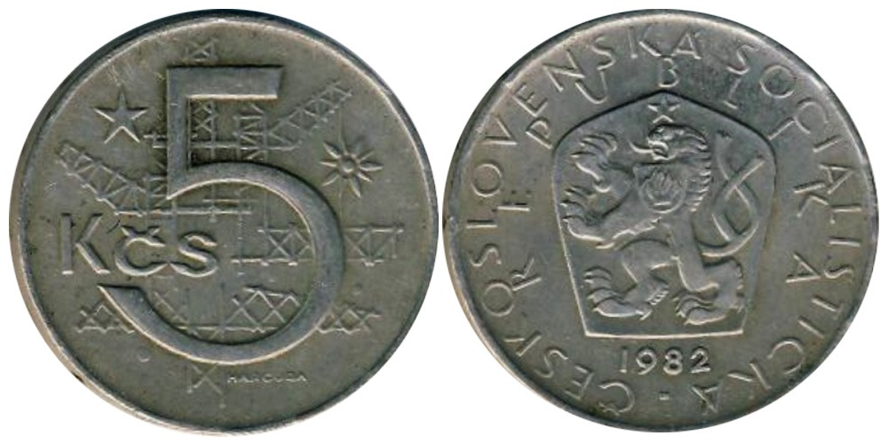 5 крон 1982 Чехословакии