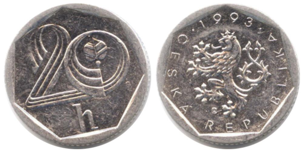 20 геллеров 1993 Чехия