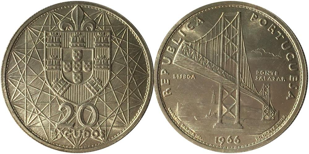 20 эскудо 1966 Португалия — Открытие моста Антониу Салазара — серебро