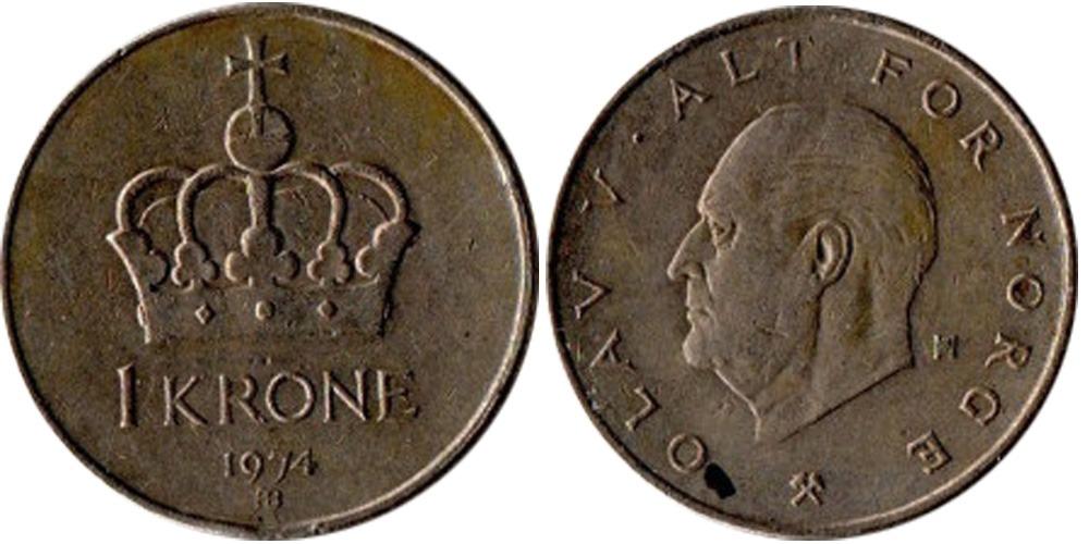 1 крона 1974 Норвегия