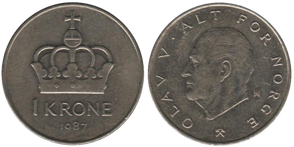 1 крона 1987 Норвегия