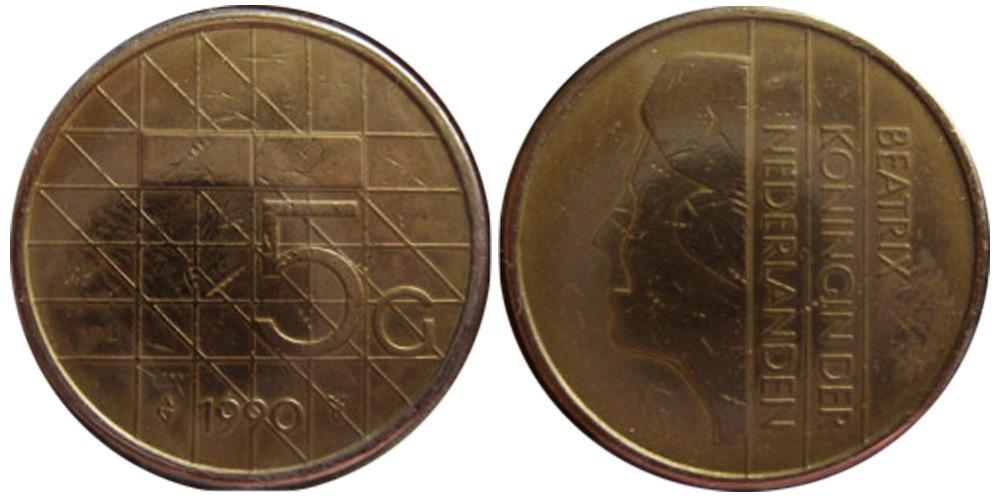 5 гульденов 1990 Нидерланды