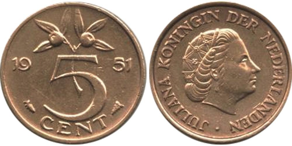 5 центов 1951 Нидерланды