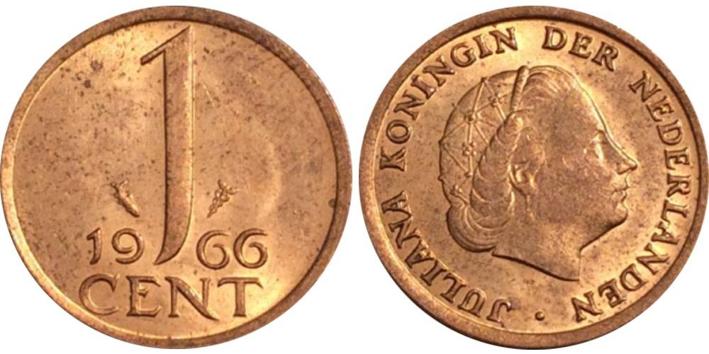 1 цент 1966 Нидерланды — большие цифры