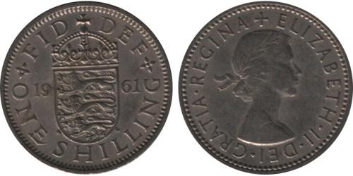 1 шиллинг 1961 Великобритания — Английский герб — 3 льва внутри коронованного щита