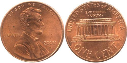 1 цент 2000 D США