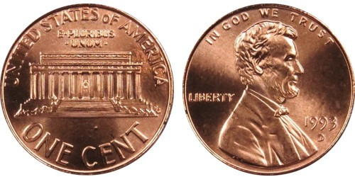 1 цент 1993 D США
