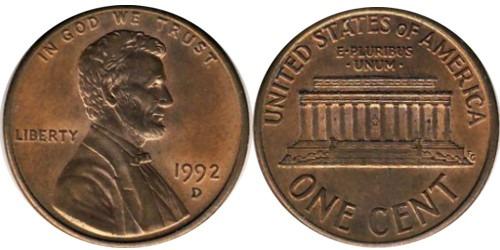 1 цент 1992 D США