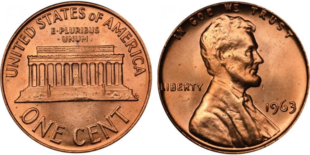 1 цент 1963 США