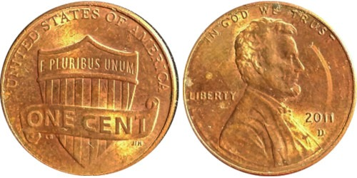 1 цент 2011 D США