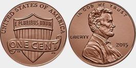 1 цент 2015  США UNC