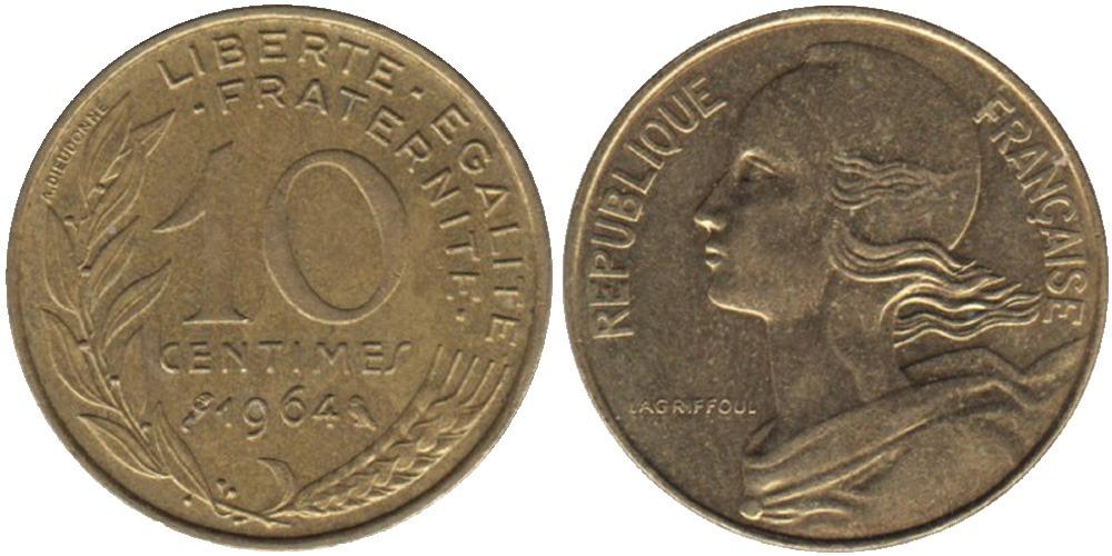 10 сантимов 1964 Франция